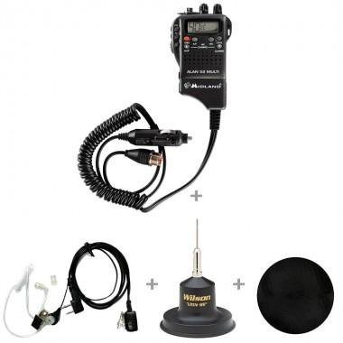 Pachet statie radio CB Alan 52 cu antena CB Wilson Little Wil, casti Bytrex BA31 si pad magnetic