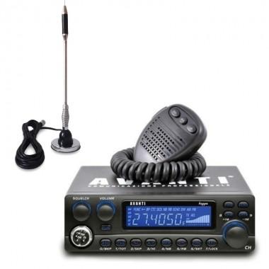 Pachet statie radio CB Avanti Kappa II, 3 trepte de putere, 8 tipuri de Roger Beep + antena CB Bytrex MiniPlus