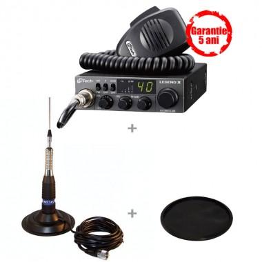 Pachet statie radio CB M-Tech Legend II cu antena CB TL-H ML 145 si suport cauciuc 145U