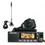 Pachet statie radio CB President Johnson II 12/24V + antena CB Bytrex MiniPlus
