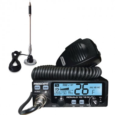 Pachet statie radio CB President Ronald 10/12 M + antena CB Bytrex MiniPlus