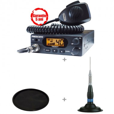 Pachet statie radio CB President Teddy ASC cu antena President ML 145 si suport cauciuc 145U