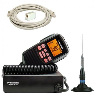 Oferta kit statie radio CB President William ASC, antena CB President ML 145 si prelungitor microfon