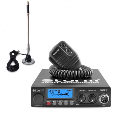 Pachet statie radio CB Storm Matrix, tehnologie SMD, control Squelch + antena CB Bytrex MiniPlus