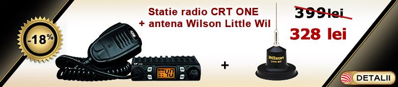 Pachet statie radio CB CRT One cu antena Wilson Little Wil