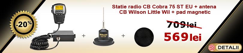 Pachet statie CB Cobra 75 ST EU cu antena Wilson Little Wil si pad magnetic