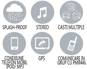 Caracteristici principale sistem comunicare Midland BT Intercom